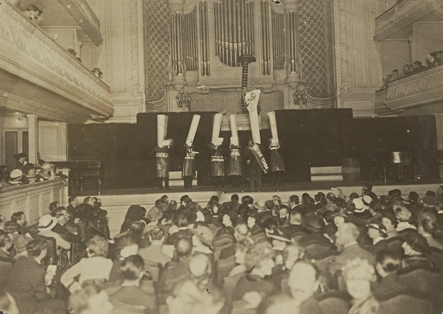Photograph of a Dada event at la Maison de l'Oeuvre in Paris, March 1920