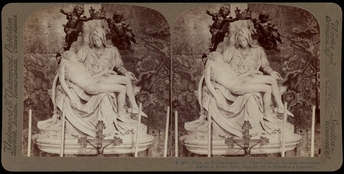 Stereoscopic photograph of Michelangelo's Pieta