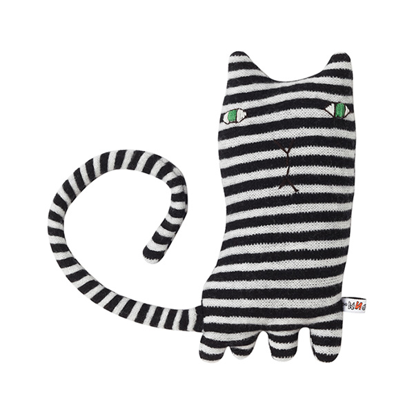 100% lambswool knitted cat Mono shaped soft toy