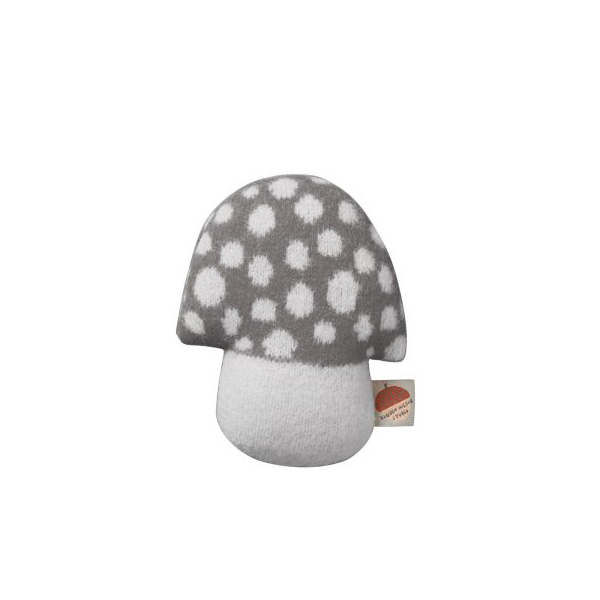 100% lambswool knitted mushroom shaped mini grey cushion