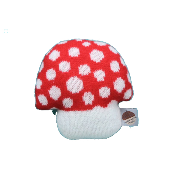 100% lambswool knitted mushroom shaped mini red cushion