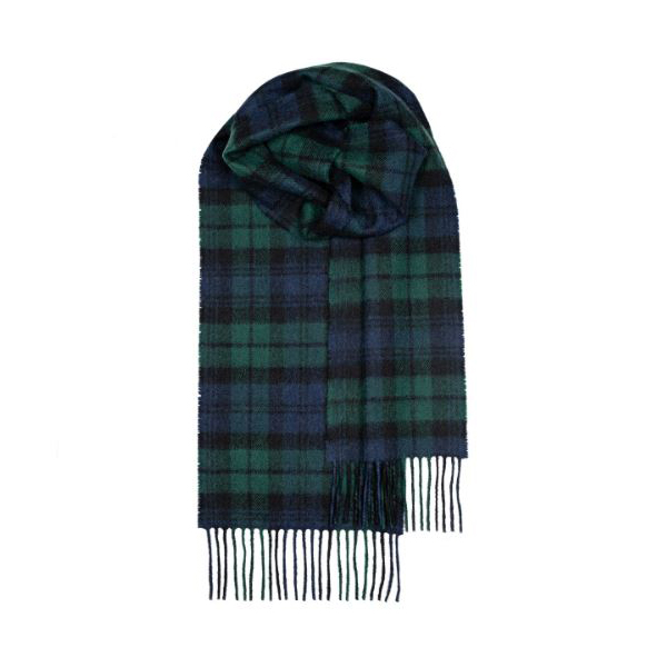 100% pure lambs wool black watch tartan scarf