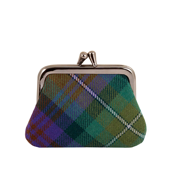 100% pure lambswool Isle of Skye green tartan coin purse