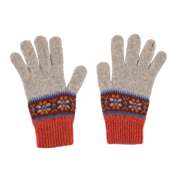 100% pure new wool Islay pattern amber gloves