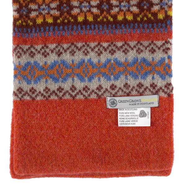 100% pure new wool Islay pattern amber scarf