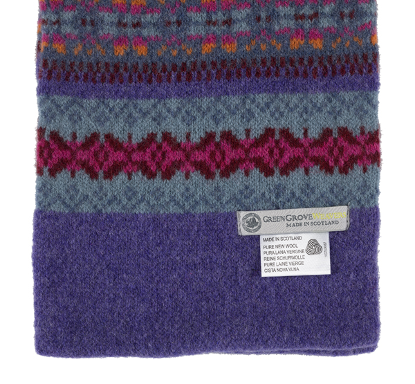 100% pure new wool Islay stripe pattern lilac and blue scarf