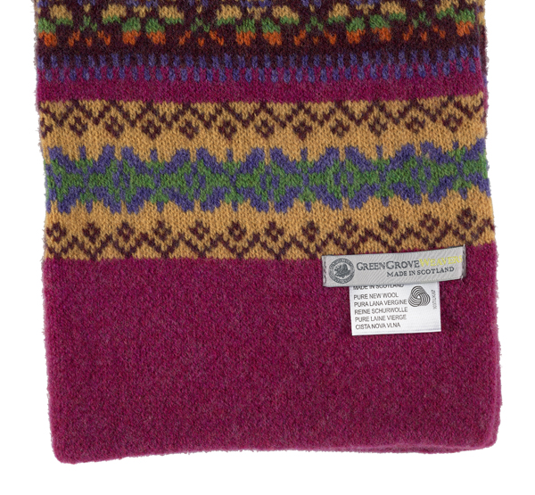 100% pure new wool Islay stripe pattern mustard and pink scarf