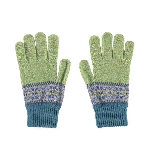 100% pure new wool Islay stripe pattern blue and green gloves