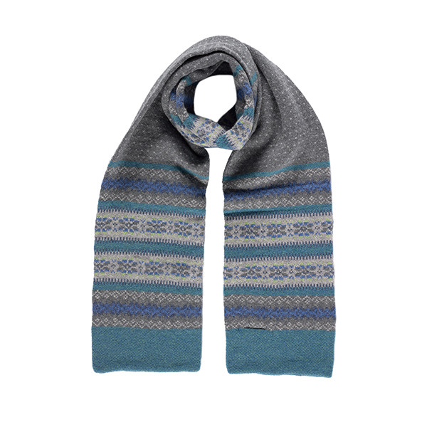 100% pure new wool Islay stripe pattern green, blue and grey scarf