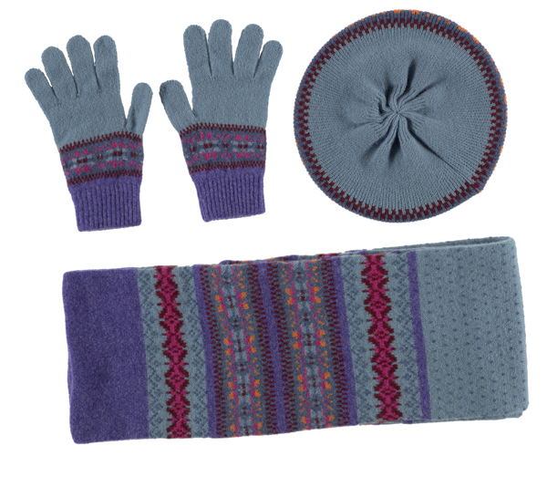 100% pure new wool Islay stripe pattern lilac and blue Green Grove gloves