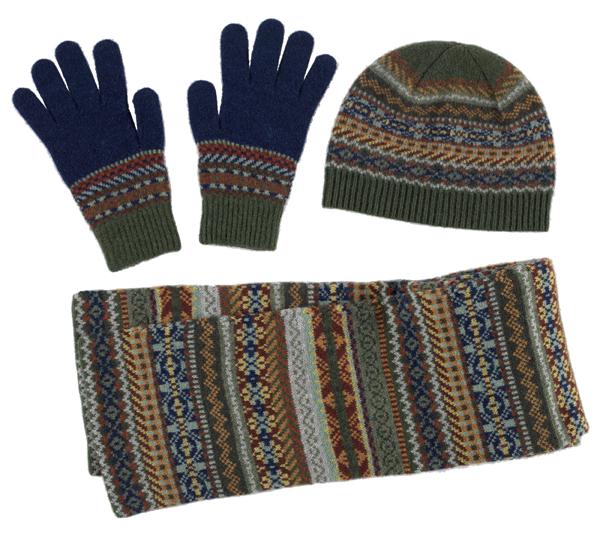 100% pure new wool Lorimer stripe pattern green Green Grove gloves