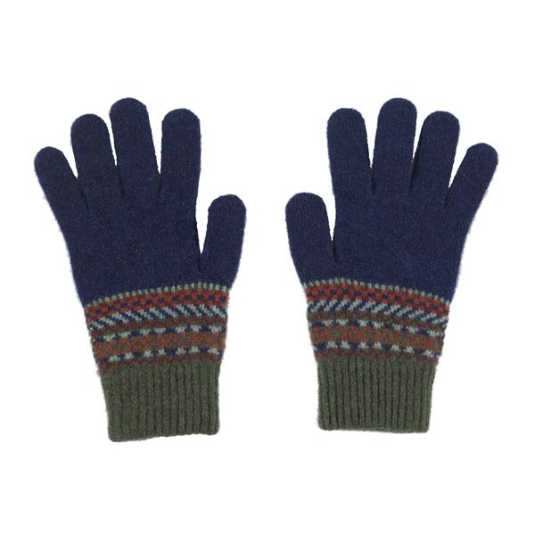 100% pure new wool Lorimer stripe pattern green gloves