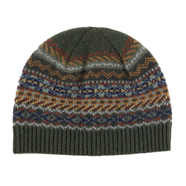 100% pure new wool Lorimer stripe pattern green hat