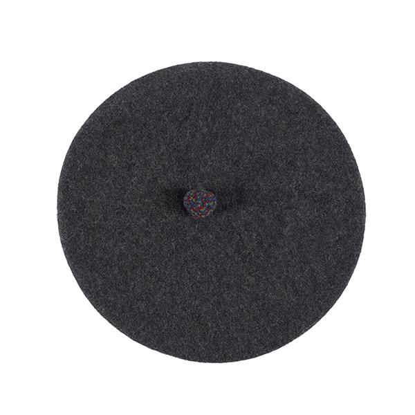100% pure new wool dark grey pompom beret
