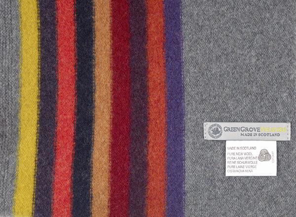 100% pure new wool morris storm grey stripe scarf