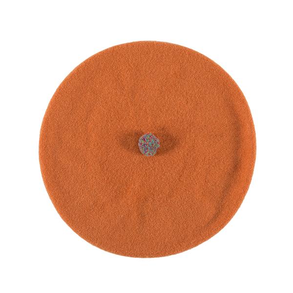 100% pure new wool orange pompom beret