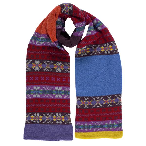 100% pure new wool pimpernel stripe pattern blue scarf