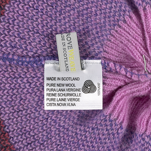 100% pure new wool pimpernel stripe pattern pink, purple and blue beret