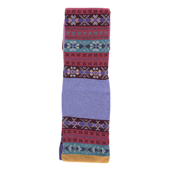 100% pure new wool pimpernel stripe pattern pink, purple and blue scarf