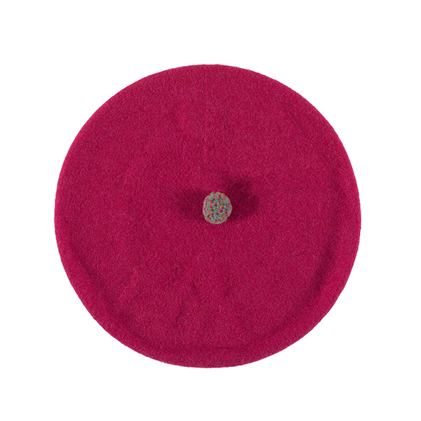 100% pure new wool pink pompom beret