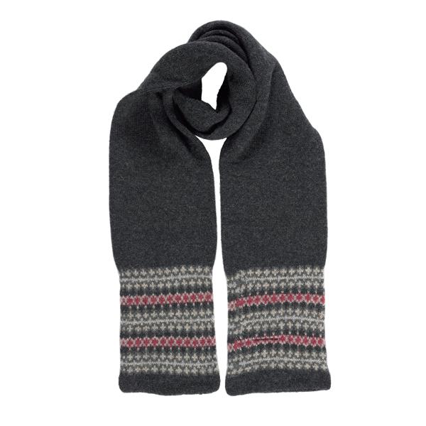 100% pure new wool stripe pattern grey slim scarf