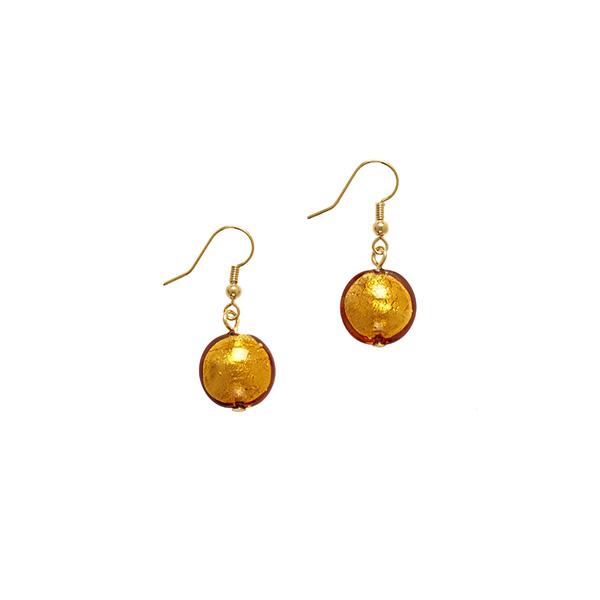 Murano glass amber smartie drop earrings