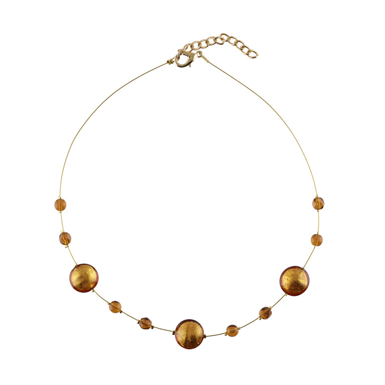 Murano glass gold smartie necklace