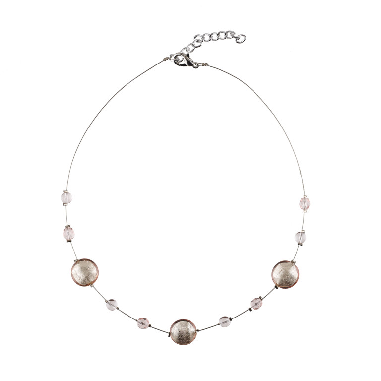 Murano glass pale pink and silver smartie necklace
