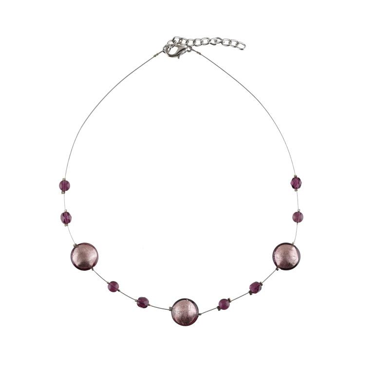 Murano glass purple smartie necklace