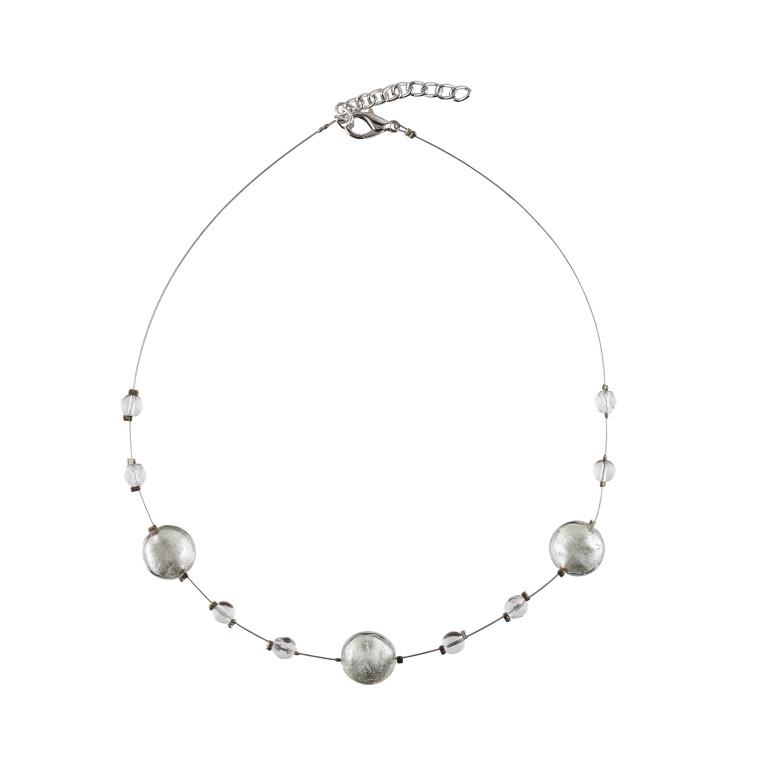 Murano glass silver smartie necklace
