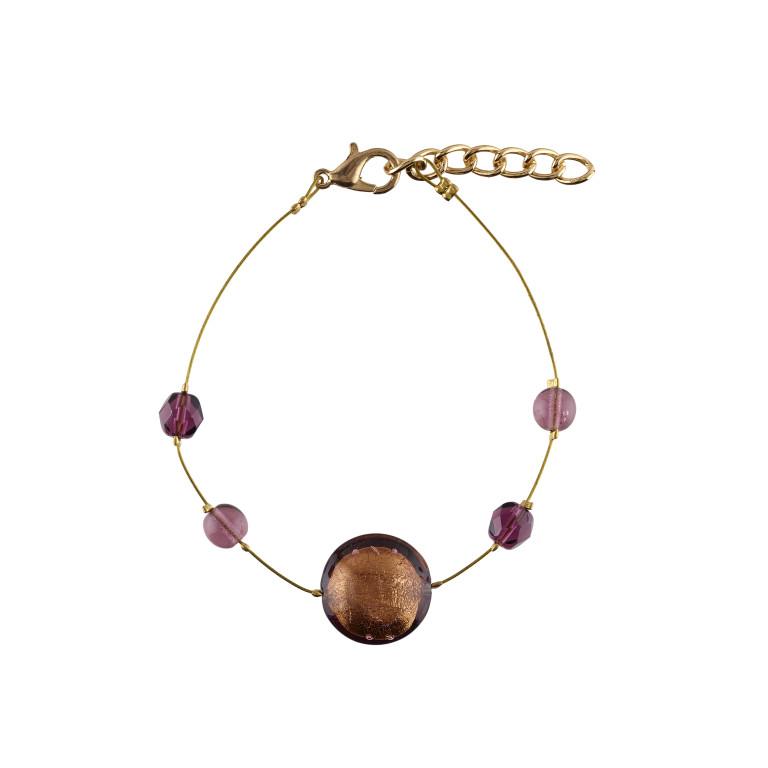 Murano glass mauve smartie bracelet