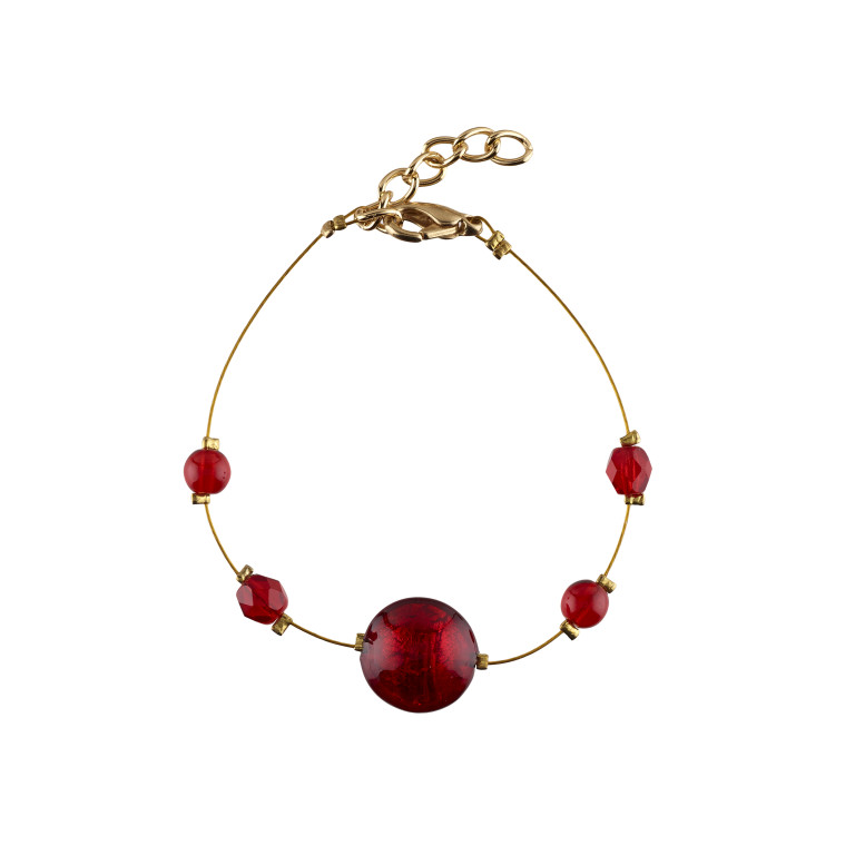 Murano glass red smartie bracelet