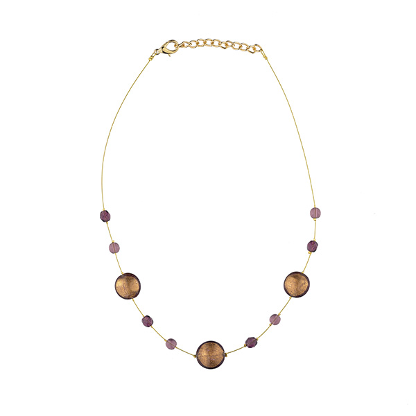Murano glass mauve smartie necklace