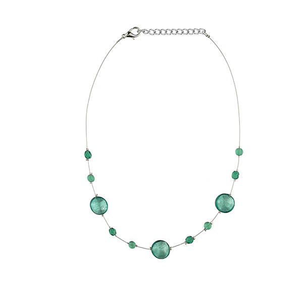 Murano glass teal smartie necklace