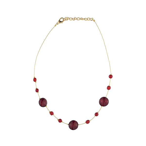 Murano glass red smartie necklace