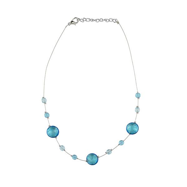 Murano glass aqua smartie necklace