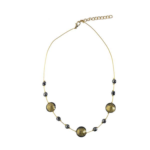 Murano glass green and dark grey smartie necklace