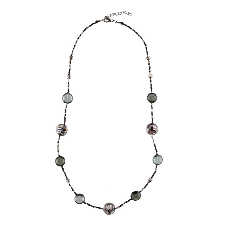 Murano glass grey and primavera beads necklace