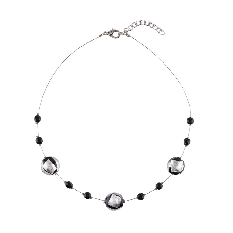 Murano glass black and crushed silver smartie beads necklace