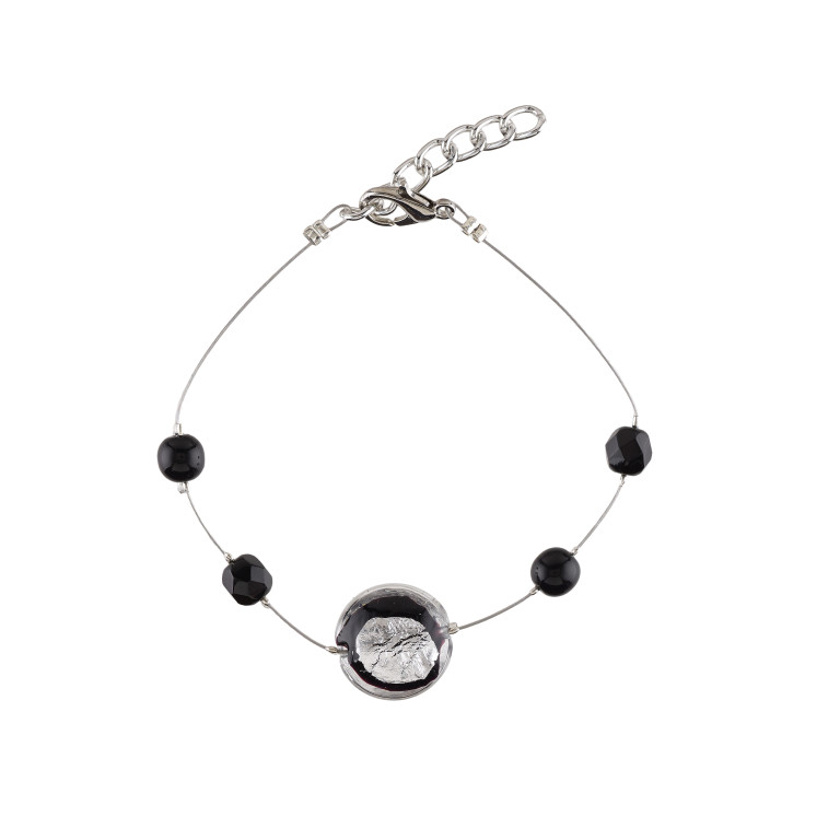 Murano glass black smartie bracelet