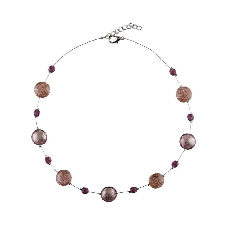 Murano glass seven purple smartie necklace
