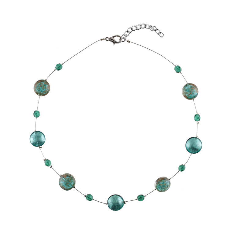 Murano glass seven teal blue smartie necklace