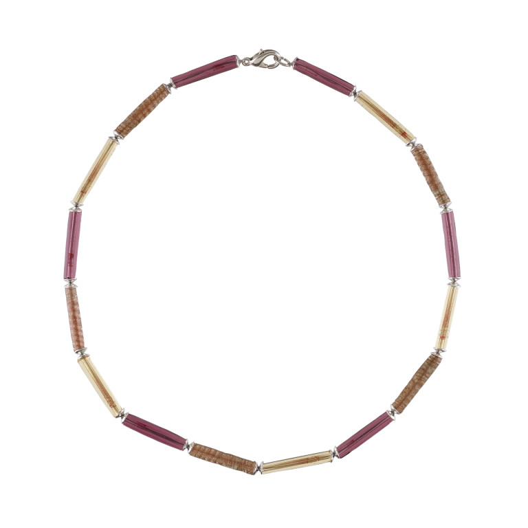 Murano glass pink rod necklace