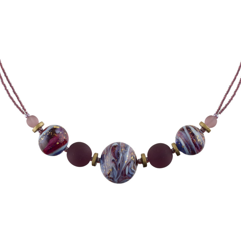 Murano glass purple marbled effect necklace