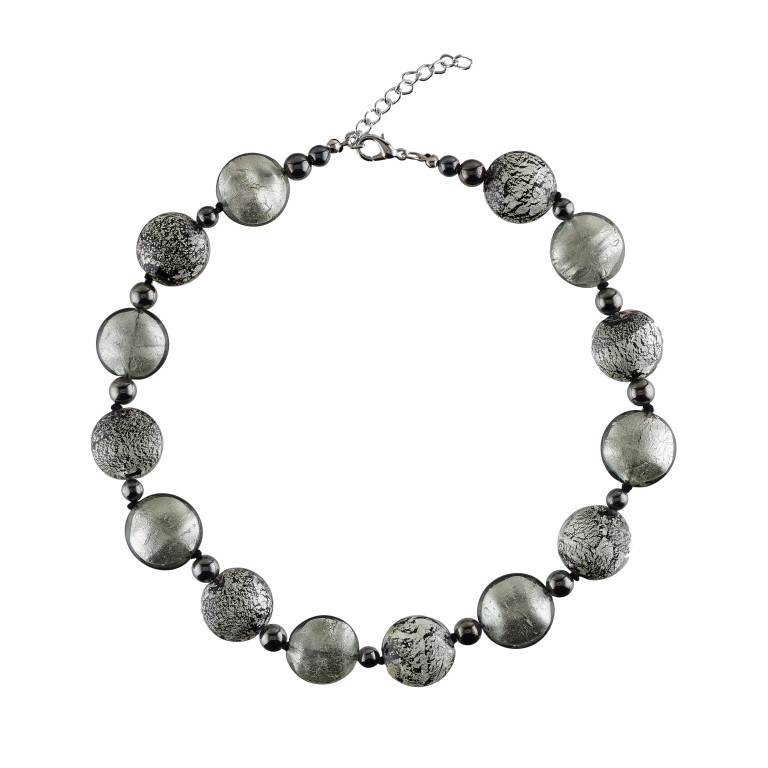 Murano glass polished and crushed silver beads necklace
