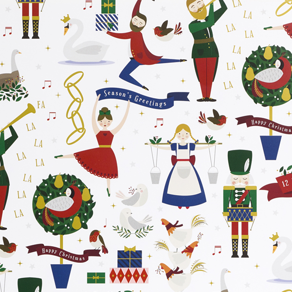 Twelve days of Christmas gift wrap (single sheet)