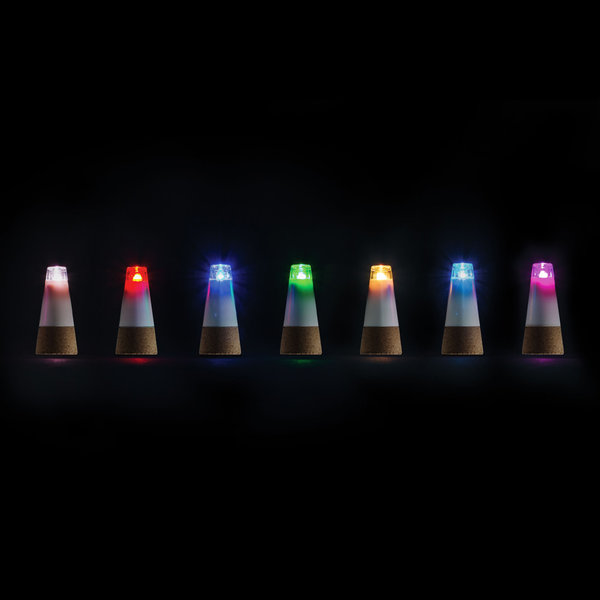 Cork-shaped multicolour LED bottle light