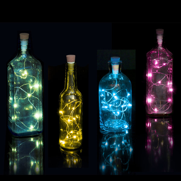 Cork-shaped multicolour LED bottle string light