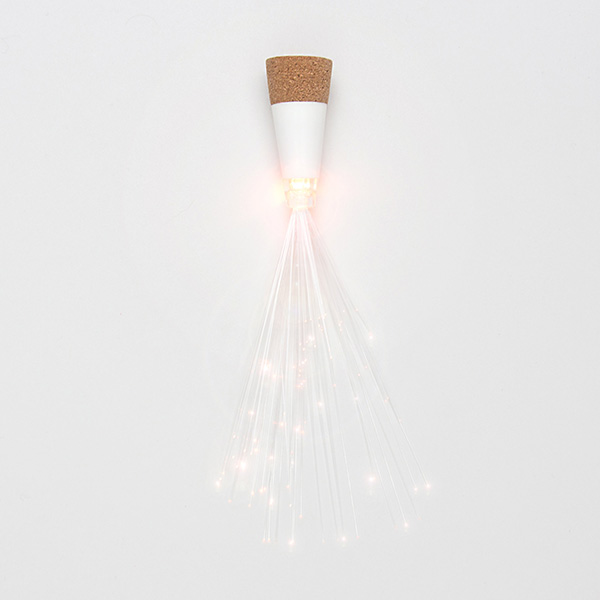 Cork-shaped fibre optic bottle light