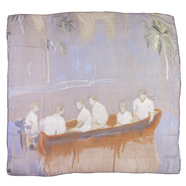 Figures in Red Boat Peter Doig Silk Scarf
